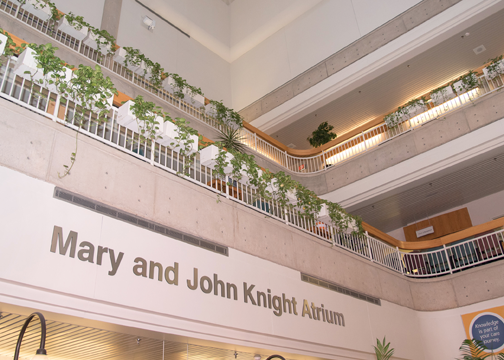 The atrium at LHSC's London Regional Cancer Program has been named in honour of Mary and John Knight, in recognition of their $5.25 million estate gift.