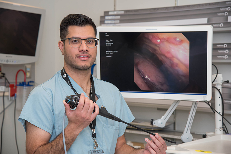 Dr. Inderdeep Dhaliwal with the pleuroscope